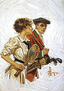 Tennis Painting Posters - Sunday Sports 1910 Poster by Stefan Kuhn