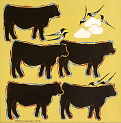 Black Angus Drawings Prints - Sunday Stroll Print by Susan Greenwood Lindsay