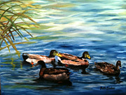 Ducks Paintings - Sunday Swim by Patti Gordon