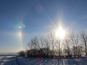 Winter Landscapes Photos - Sundog In North Dakota by Christy Patino