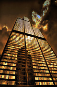 Ledge Photos - Sundown At Willis Sears Tower by Thomas Woolworth