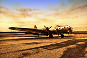 Jet Poster Digital Art - Sundown On The Parked B17 bomber by Thomas Woolworth