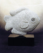 Fish Sculpture Sculpture Posters - Sunfish Poster by Leslie Dycke