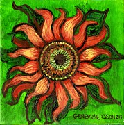 Children Print Painting Originals - Sunflower 1 by Genevieve Esson