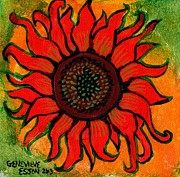 Children Print Painting Originals - Sunflower 2 by Genevieve Esson