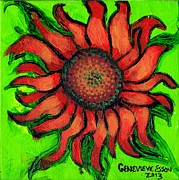 Plant Greeting Cards Painting Prints - Sunflower 3 Print by Genevieve Esson