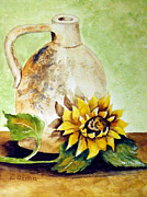 Zelma Hensel Posters - Sunflower and Old Jug Poster by Zelma Hensel