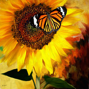 Sunflower Decor Prints - Sunflower And The Butterfly Print by Lourry Legarde