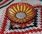 Universities Ceramics Prints - Sunflower Bowl On Rug Print by Tom Janca