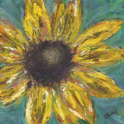 Debbie Mixed Media Originals - Sunflower Burst by Debbie  Saenz
