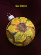 Xmas Painting Originals - Sunflower Christmas Tree Ornament by MEA Fine Art