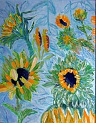 Acrylic Reliefs Prints - Sunflower Cycle of Life 1 Print by Vicky Tarcau