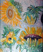 Canvas Reliefs Posters - Sunflower Cycle of Life 2 Poster by Vicky Tarcau