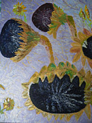 Palette Knife  Reliefs Prints - Sunflower Cycle of Life 3 Print by Vicky Tarcau