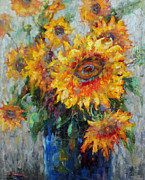 Flower Still Life Prints Posters - Sunflower Delight Poster by Ingrid Bolton