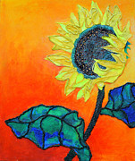 Diane Fine Mixed Media Framed Prints - Sunflower Framed Print by Diane Fine