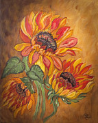 Flora Drawings Prints - Sunflower Enchantment Print by Ella Kaye