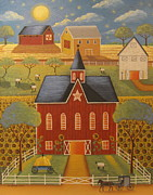 Amish Buggy Paintings - Sunflower Farm by Mary Charles