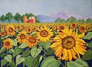 Flowers Sunflowers Barn Prints - Sunflower Farm Print by Ruth Soller
