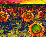 Vangogh Framed Prints - Sunflower Field 20130730 horizontal Framed Print by Wingsdomain Art and Photography