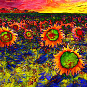 Dutch Digital Art - Sunflower Field 20130730 square by Wingsdomain Art and Photography