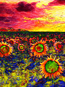 Vangogh Framed Prints - Sunflower Field 20130730 vertical Framed Print by Wingsdomain Art and Photography