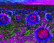 Vibrant Color Art - Sunflower Field 20130730m128 horizontal by Wingsdomain Art and Photography