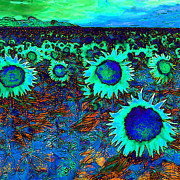Dutch Digital Art - Sunflower Field 20130730p150 square by Wingsdomain Art and Photography