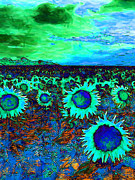 Vangogh Framed Prints - Sunflower Field 20130730p150 vertical Framed Print by Wingsdomain Art and Photography