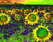 Vangogh Framed Prints - Sunflower Field 20130730p35 horizontal Framed Print by Wingsdomain Art and Photography