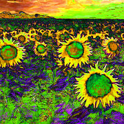 Vangogh Framed Prints - Sunflower Field 20130730p35 square Framed Print by Wingsdomain Art and Photography