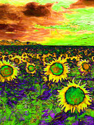 Switzerland Digital Art - Sunflower Field 20130730p35 vertical by Wingsdomain Art and Photography