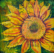 Joy Mixed Media Originals - Sunflower Glory by Lisa Fiedler Jaworski