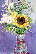 Aster Paintings - Sunflower II by Carole  DiTerlizzi
