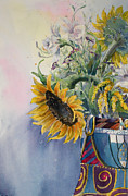 Aster Paintings - Sunflower III by Carole  DiTerlizzi
