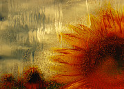 Warp Digital Art Prints - Sunflower In The Rain Print by Jack Zulli