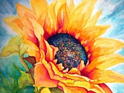 Blue And Gold Paintings - Sunflower Joy by Janine Riley