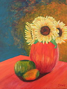 Kiwi Painting Originals - Sunflower by Lee Ann Newsom