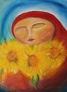 Sunflower Oil Paintings - Sunflower Madonna by Teresa Hutto