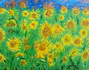 Field Of Sunflowers Paintings - Sunflower Memories by Lettie Krell