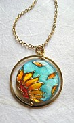 Sunflower Jewelry - Sunflower necklace painted by hand by Evelina Pastilati