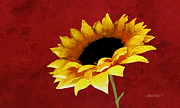 Sunflower Art Posters - Sunflower on Red Poster by Ann Powell