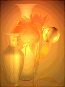 Joyce Dickens Digital Art Prints - Sunflower Orange With Vases Posterized Print by Joyce Dickens