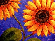 Colorful Floral Gardens Paintings - Sunflower Painting  by Annie Zeno