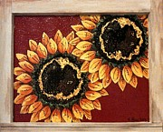 Sunflowers Glass Art - Sunflower Persuasion  by Wendy Blye
