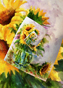 Sunflower Print On Print On Print Print by Zeana Romanovna