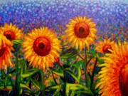 Wine Glasses Paintings - SunFlower Scape by John  Nolan