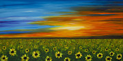 Sunflowers Paintings - Sunflower Sunset - Flower Art By Sharon Cummings by Sharon Cummings