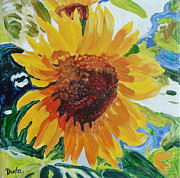 Floral Ceramics Metal Prints - Sunflower Tile  Metal Print by Susan Duda