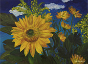 Sunflower Oil Paintings - Sunflower by Valentina Copeland